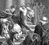 Käufer und Händler aus dem Tempel gejagt - Dore